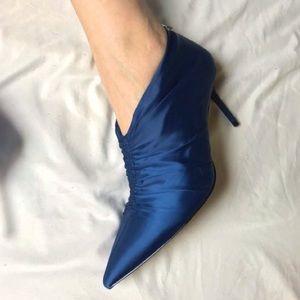 Zara Satin Bootie style Cinched Gathered Heels